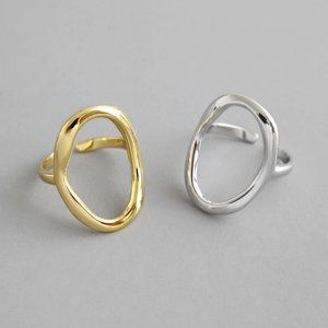 NEW Gold/Sterling Silver Circle Adjustable Ring